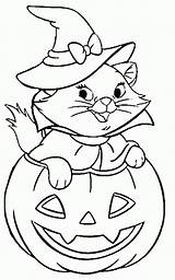 Coloring Cat Pages Printable Halloween sketch template