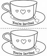 Tea Coloring Cup Teacup Pages Mother Template Invite Printable Chat Drawing Saucer Mothers Teacups Sheets Clipart Noir Sheet Deviantart Coffee sketch template