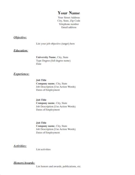 A Simple Resume by 14 Simple Resume Exles Templates In Word Indesign