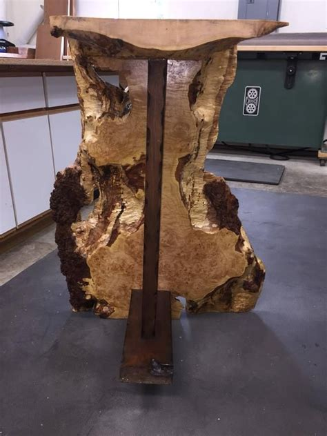 maple burl top  cedar base side tableart pedistal
