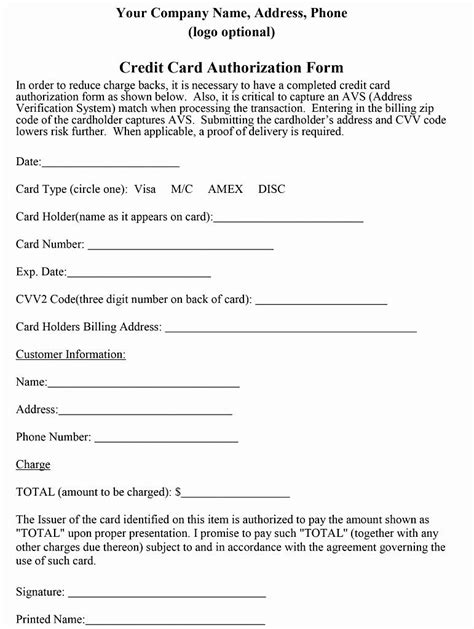 credit card authorization form template  authorization