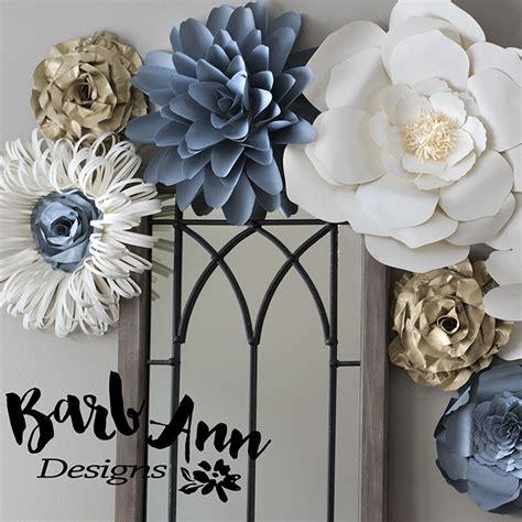 gray gold cream paper flower set barb ann designs