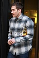Jake Gyllenhaal out in London in plaid to promote Nocturnal Animals on BBC Radio