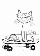 Pete Cat Coloring Drawing Printable Shoes Sunglasses His Groovy Template Epic Drawings Rocking Cats sketch template