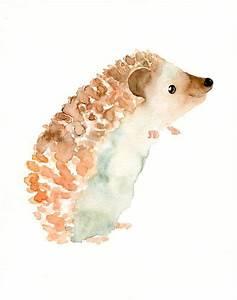 HEDGEHOG by DIMDI Original watercolor painting 8x10inch