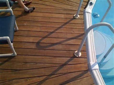 ground pool deck post spacing
