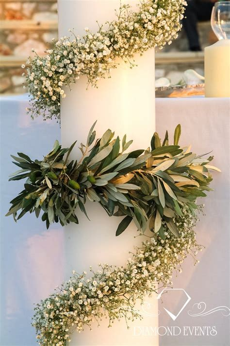 wedding candles decorated  olive leaves
