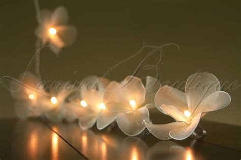 20 Cream Nylon Orchid Flower Battery Powered Led String