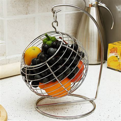 ball shaped stainless steel swing  hanging fruit basket
