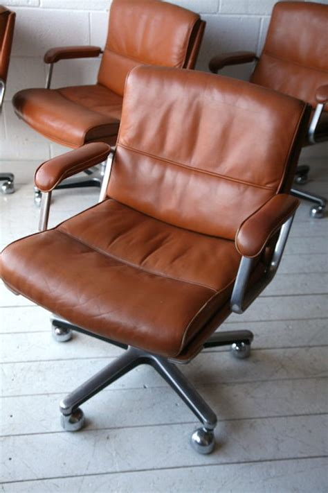 1970s leather desk chair and chrome