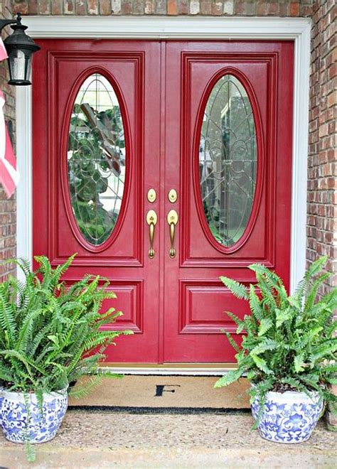 love  red front double doors home depot exterior