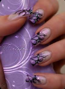 Purple and black nail art designs picture