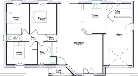 plan de maison plain pied 4 chambres gratuit plan de maison plein pied avec garage maison