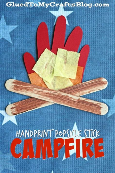 handprint popsicle stick campfire kid craft preschool 198 | c37d0aa6a36d0358174729e42b317600