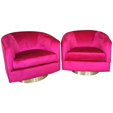 pair of milo baughman pink velvet brass swivel tub barrel