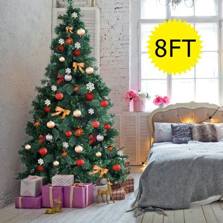 artificial christmas trees at wal mart gymax 8ft green season artificial pvc tree indoor outdoor stand walmart
