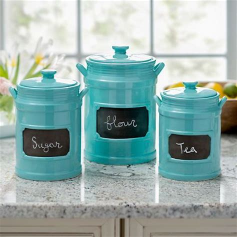 turquoise chalkboard kitchen canisters set