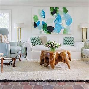White Rug with Black Fringe - Eclectic - Living Room
