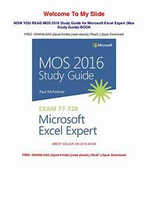 Mos 2016 Study Guide For Microsoft Excel Expert Free Pdf