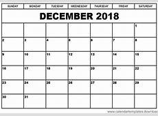 Blank Calendar Template For December 2018 Business Template