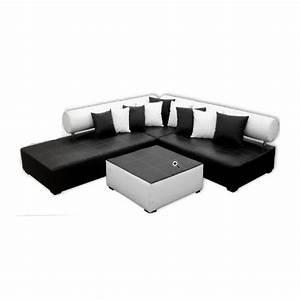Canapé Noir Et Blanc : canape d 39 angle noir et blanc ~ Teatrodelosmanantiales.com Idées de Décoration