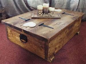 Coffee table storage box wooden plank rustic blanket chest for Small storage trunk coffee table