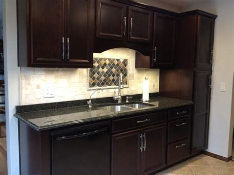 Java Kitchen Cabinets with Maple Flat Top Bar Wood Pantry