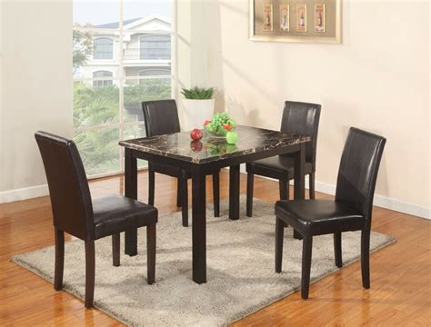 room style pc dining set  faux marble table