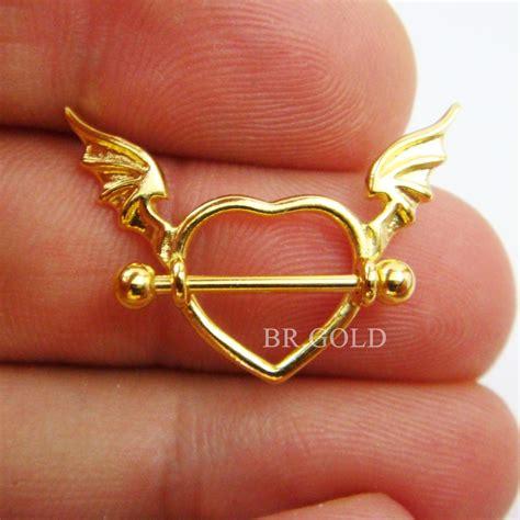 piercing  mamilo de coracao  banho de ouro estojo