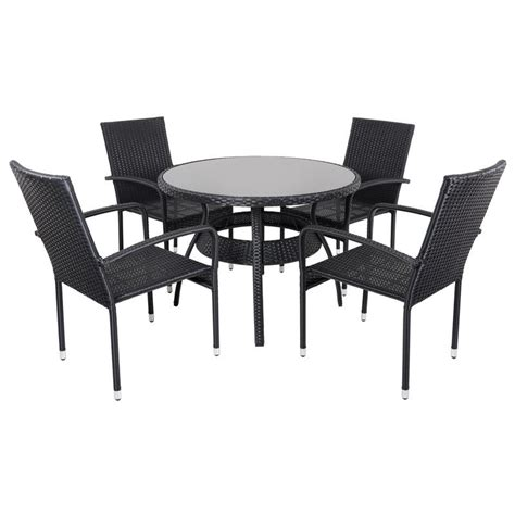 black ravenna rattan wicker garden dining table set with 4