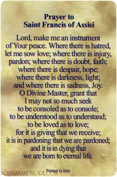 prayer of francis of assisi francis of assisi relic prayer card