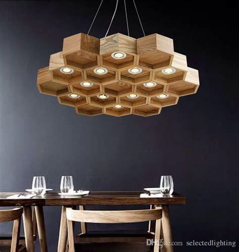 modern light fixtures for dining loft wood pendant l honeycomb chandeliers nordic