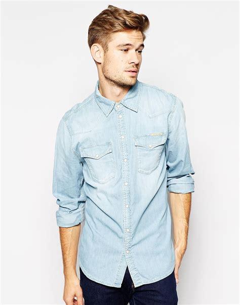light blue jeans mens slim fit lyst pepe jeans pepe denim shirt carson western slim fit