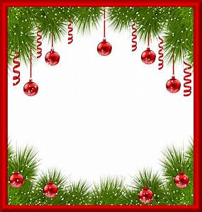 Christmas PNG Transparent Frame with Red Ornaments ...