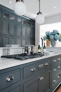 66 gray kitchen design ideas decoholic for Kitchen colors with white cabinets with atlanta falcons stickers