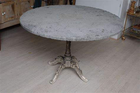 cast iron base gueridon table with blue top for sale