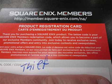 square enix members product registration card points