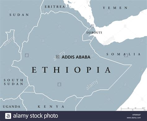 Ethiopia Political Map With Capital Addis Ababa And