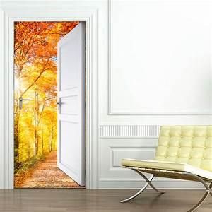 Sticker porte ouverte sur bois d'automne 204 x 83 cm Stickers Nature Arbres Ambiance sticker