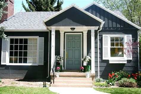 House Colors- Dark Gray With Green Door- White Trim- Light