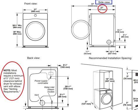 trend standard washing machine width washer  dryer dimensions find