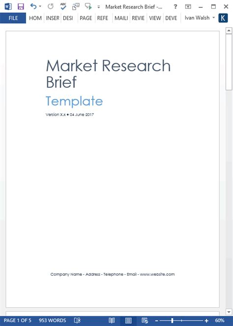 marketing research brief template market research templates 10 word 2 excel
