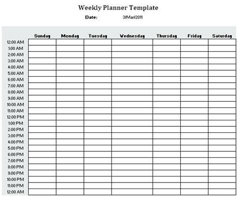 hourly schedule template weekly 24 hour planner listmachinepro