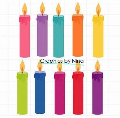 Candles Birthday Clipart Clip Candle Scrapbook Instant