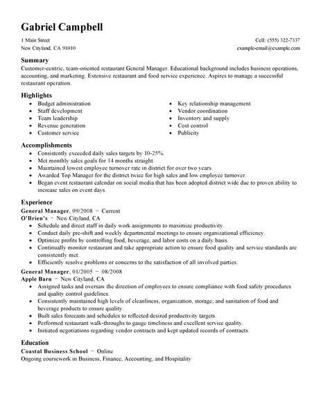 exle of hotel general manager resume general manager resume exle restaurant bar sle resumes livecareer