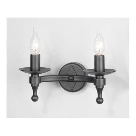 wrought iron black rustic wall light 2