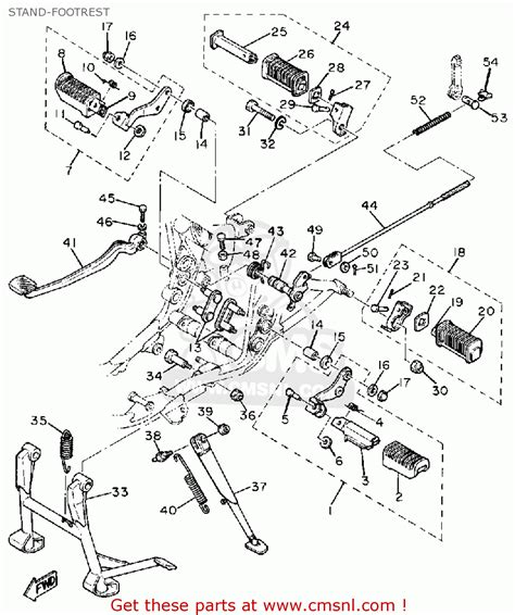 yamaha sr500h 1981 stand footrest schematic partsfiche