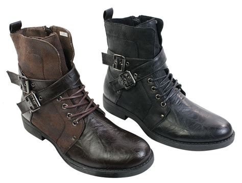 Mens Punk Rock Goth Elmo Ankle Boots Brown Black Leather