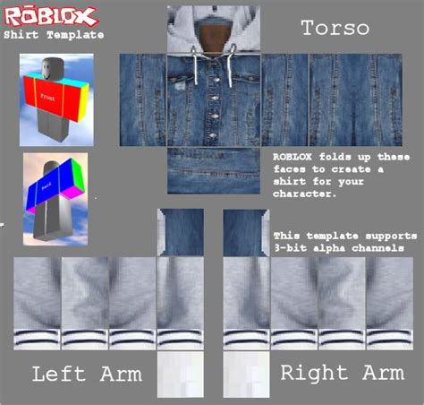 denim jacket  white hoodie roblox template