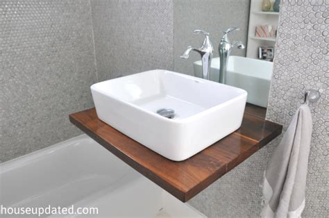 floats then sinks diy walnut floating shelf sink vanity house updated